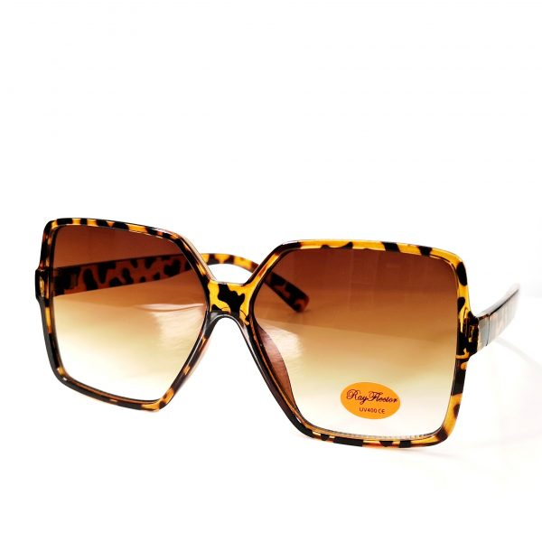 Leopard Pint Thin Frame Oversize Sunglasses