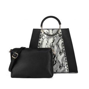 Black Round & Grey Round Handle Bag