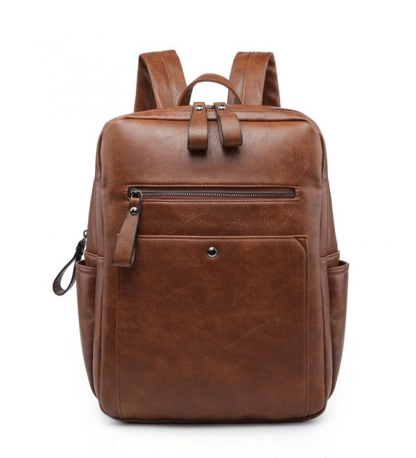Brown Leather Look Backpack