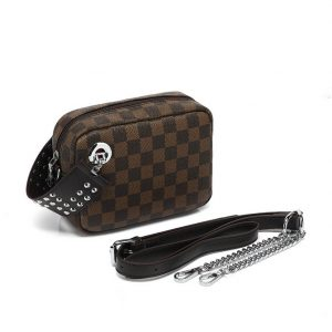 Brown Chequered Patter Mini Shoulder Bag