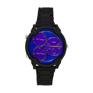 Softech Black & Blue 3 Clocks Oversize Gents Watch