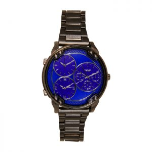 Softech Black & Blue Oversized Brush Steel Gents Watch