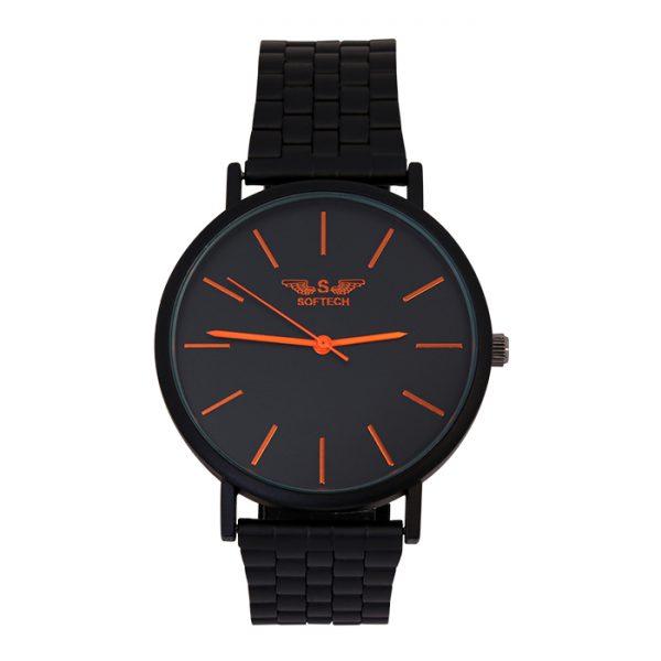 Softech Black with Orange Digits Unisex Watch