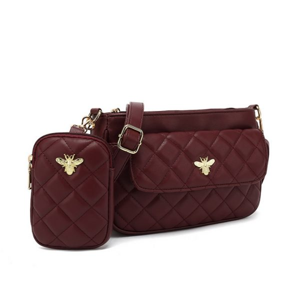 Red Quilted Bag With Purse