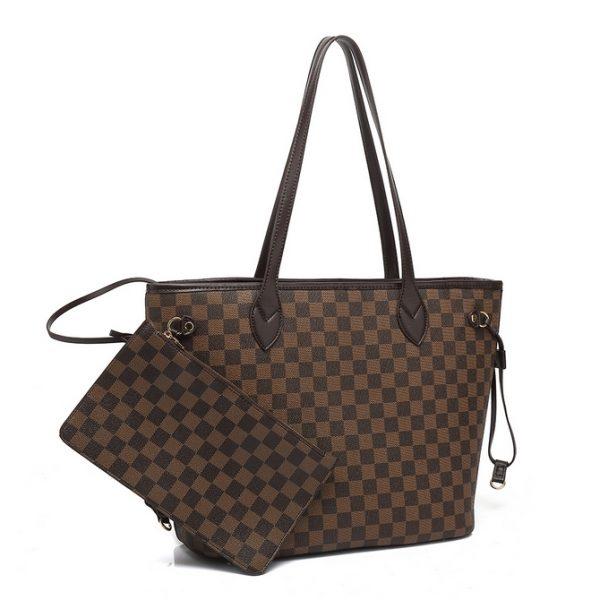 Brown check shoulder bag